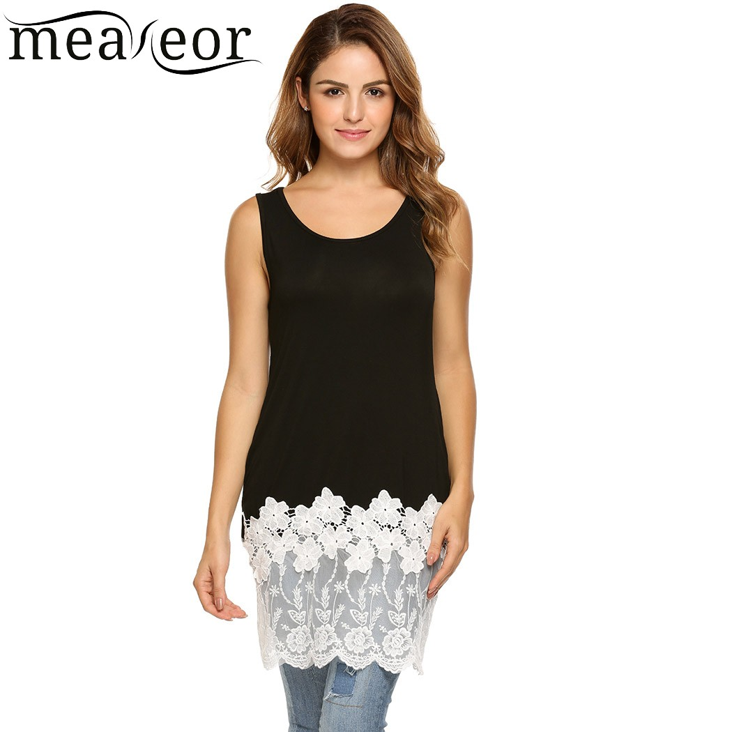 Meaneor Floral Lace Patchwork Long Tank Top Women Sleeveless Solid Elegant T-shirt Summer Vest Clothes for Casual Beach