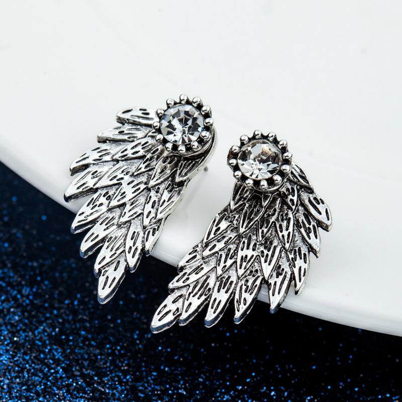 2018 Korean Vintage Earrings Fashion Jewelry Female Angel Wings Feather Earring Imitation Alloy Earings For Women Gift Puncture