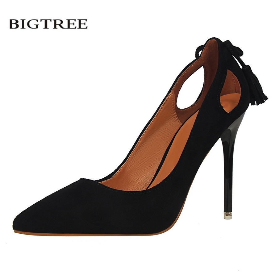 BIGTREE Autumn Elegant Pumps Thin Sexy High-heeled Shoes Pointed Suede Hollow Back Bow Tassel OL Fashion Women's Shoes G3168-9 bigtree spring autumn sexy banquet women pumps shallow mouth pointed suede pearl hollow 9 cm fine high heels shoes