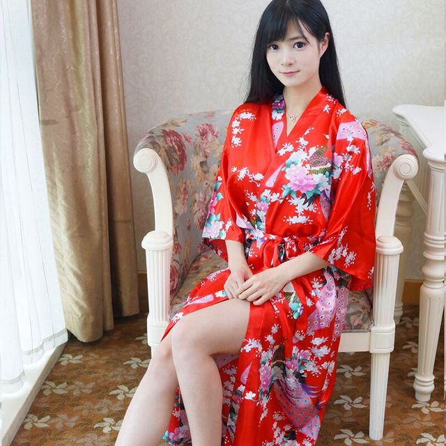 De Las Mujeres rojas de Imitación Seda Bathgown Larga Kimono Robe Gown Camisón Sleepshirts Pijamas Pijama Mujer Un Tamaño Mys003