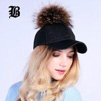 [FLB] groothandel Baseball Vrouwelijke Cap Real Mink Pom Poms Echt Bont bal Cap Hiphop Hoed Caps Snapback Winter Hoeden Voor vrouwen