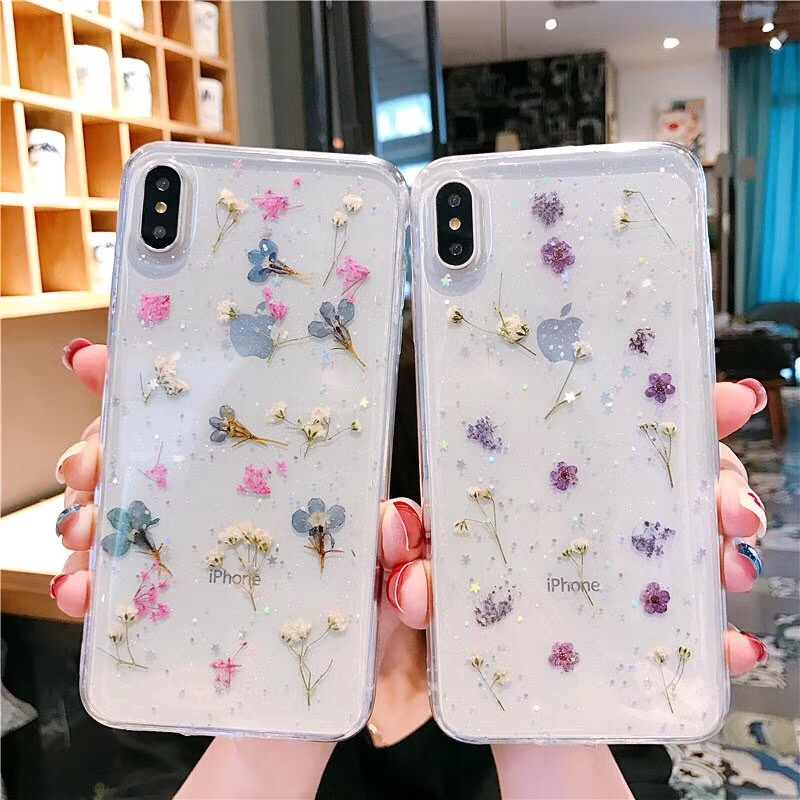 Tfshining flores secas caso para iPhone 11X6 6S 7 7 8 Plus XR XS Max 11 Pro Max caso TPU transparente chica Conque