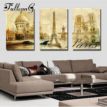 FULLCANG 3pcs diy diamond embroidery paris tower and castle triptych painting full square/round drill 5d mosaic pattern FC908