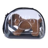 Foldable Transparent Pet Puppy Dog Cat Carrier Outdoor Pet Travel Bag Clear Dog Bag Double Zipper Small Dog Case 42 x 35 x 26cm