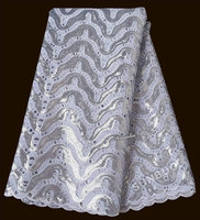 white silver shine African Handcut organza lace fabric with Lots of sequins stones 5 yards 7103 top grade hot sale