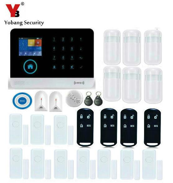 Yobang Security Remote Control Autodial WIFI GSM SMS Alarm With Blue Flash Siren Sensor Kit Wireless Smoke/Glass Break Detector wireless alarm accessories glass vibration door pir siren smoke gas water sensor for home security wifi gsm sms alarm system