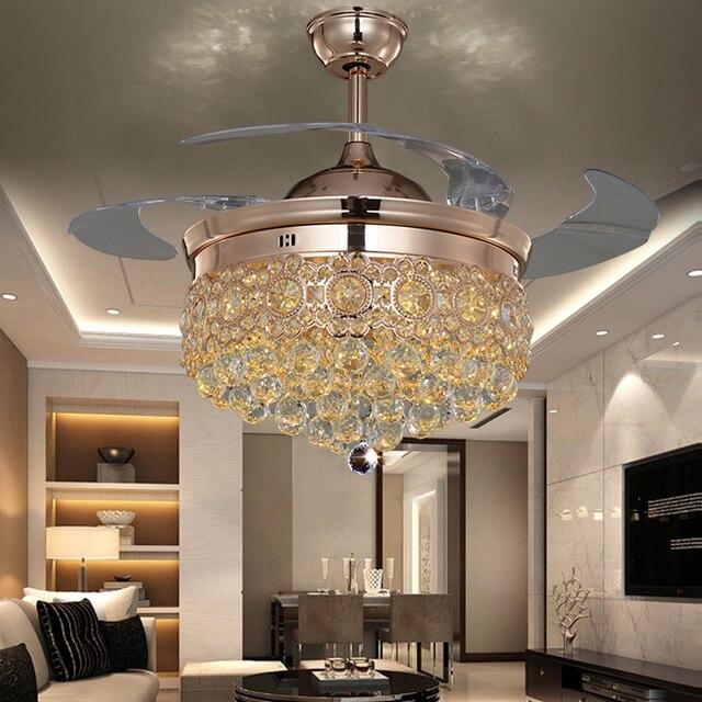 LED Nordic Iron Crystal Ceiling Fan.LED Lamp.LED Light.Ceiling Lights.LED Ceiling Light.Ceiling Lamp For Foyer Bedroom