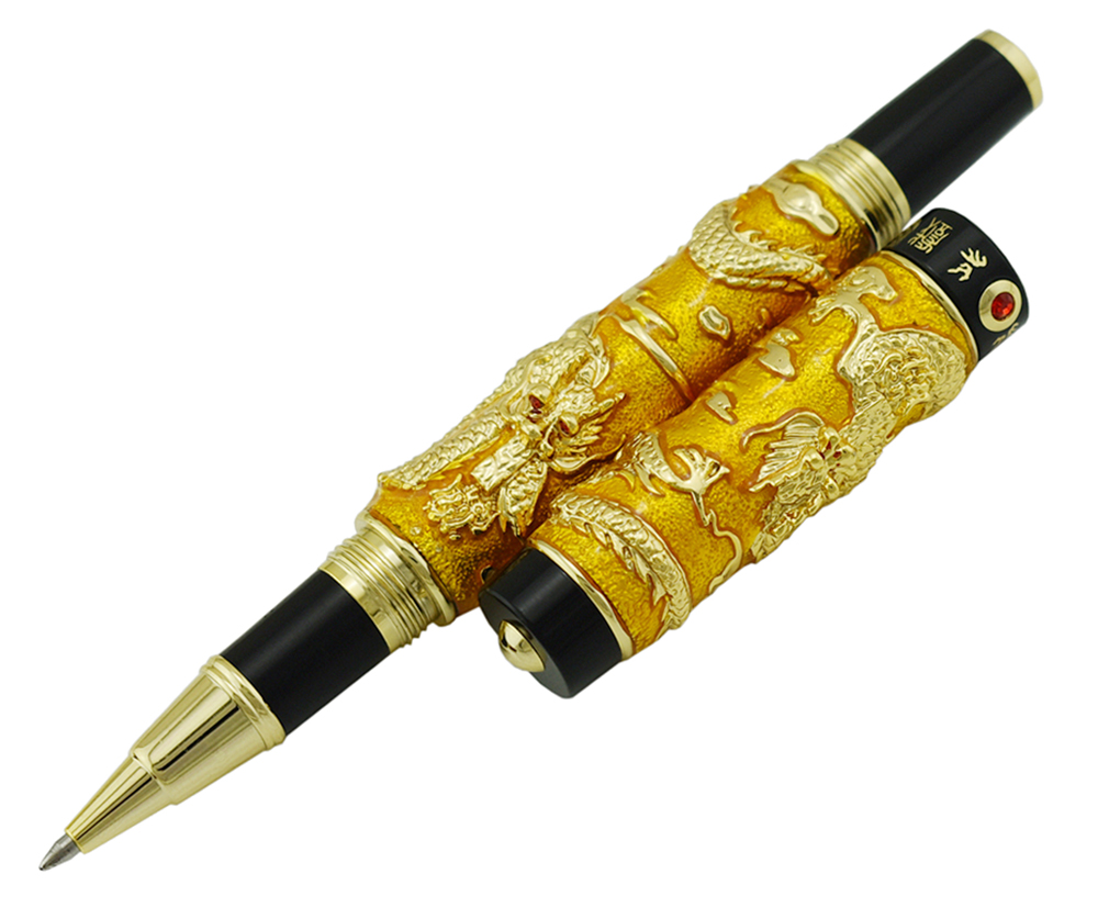 Jinhao Gold Cloisonne Double Dragon Rollerball Pen with Smooth Ink Refill Advanced Craft Writing Gift Pen for Business Graduate in Ballpoint Pens from Office School Supplies