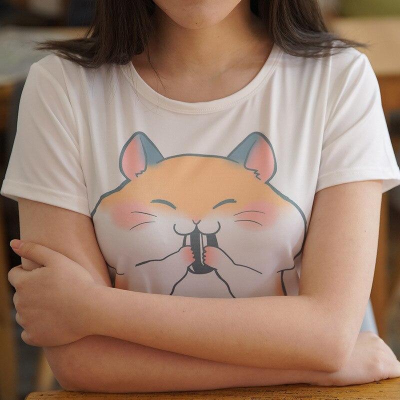 Cute Girls Cartoon Hamster T Shirt Funny Women Top Summer Shirt Short Sleeve Tee