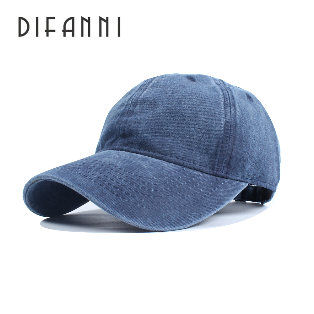 [DIFANNI]High quality Washed Cotton Adjustable Solid color Baseball Cap Unisex caps Fashion Leisure dad Hat Snapback cap climate new nice women pure solid color heavy washed flat top caps lady red cool adult adjustable army hat cap for