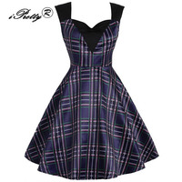 Women Party Dress Summer V Neck Elegant Tunic Plaid Patchwork Audrey Hepburn Swing 50s 60s A