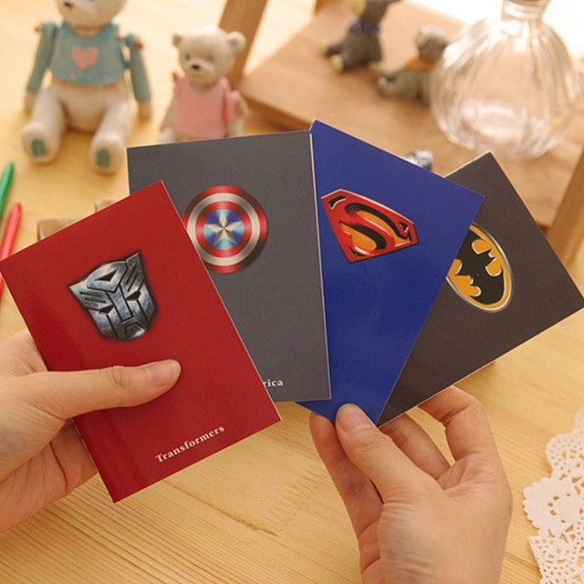 1 PCS Mini Pocket Super Hero Notebook Journal Planner Diary Kawaii Stationery Office School Supplies