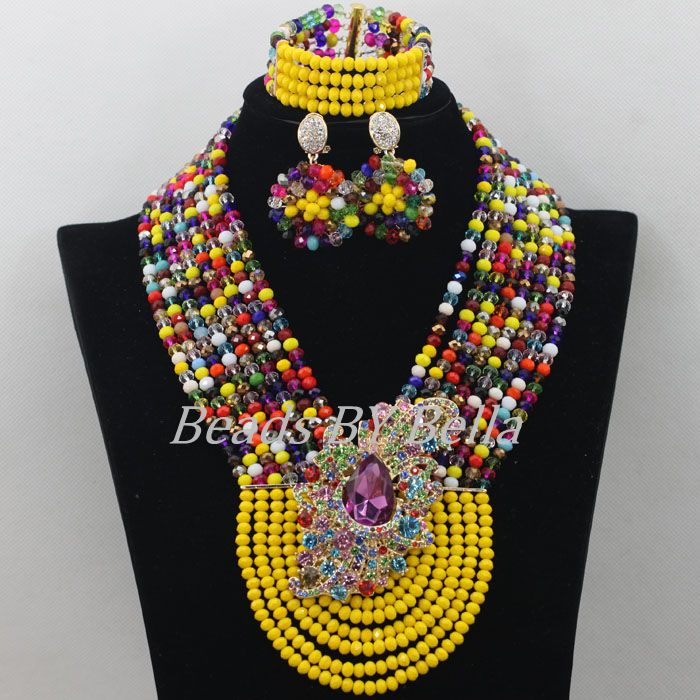 Banana Yellow Nigerian Wedding African Beads Jewelry Set Multicolor African Fashion Jewelry Set Crystal Free Shipping ABF545