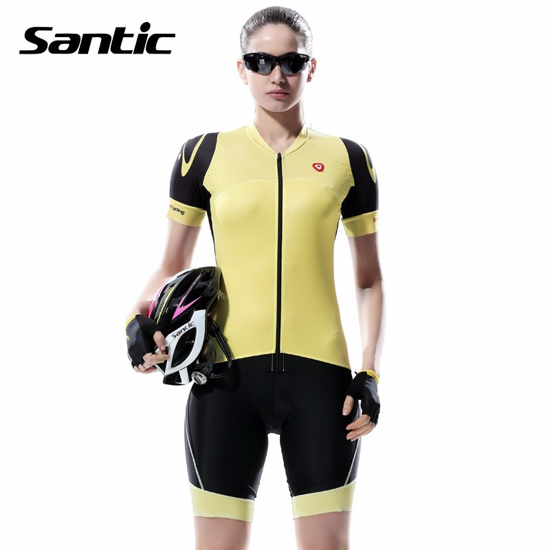 Santic 2017 Women Short Cycling Jersey Quick-Dry Breathable Slim-fitting Bicycle Clothing Spring Summer Anti-UV Bike Riding Wear santic one piece cycling jersey men breathable road bike jersey quick dry bicycle jersey triathlon wear for running swimming