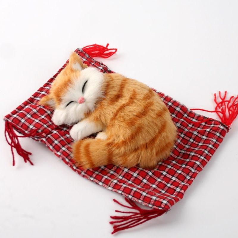 gratis frakt söt! artificiell baby katt plysch leksak, sömn kat kattungar fitta katt, docka bord dekorationer födelsedagspresent för barn tjej