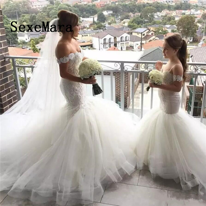 Lovely Mermaid Tulle Flower Girl Dresses for Wedding Spaghetti Strap Lace Button Back Kids Pageant Dresses Robe spaghetti strap chiffon open back dress