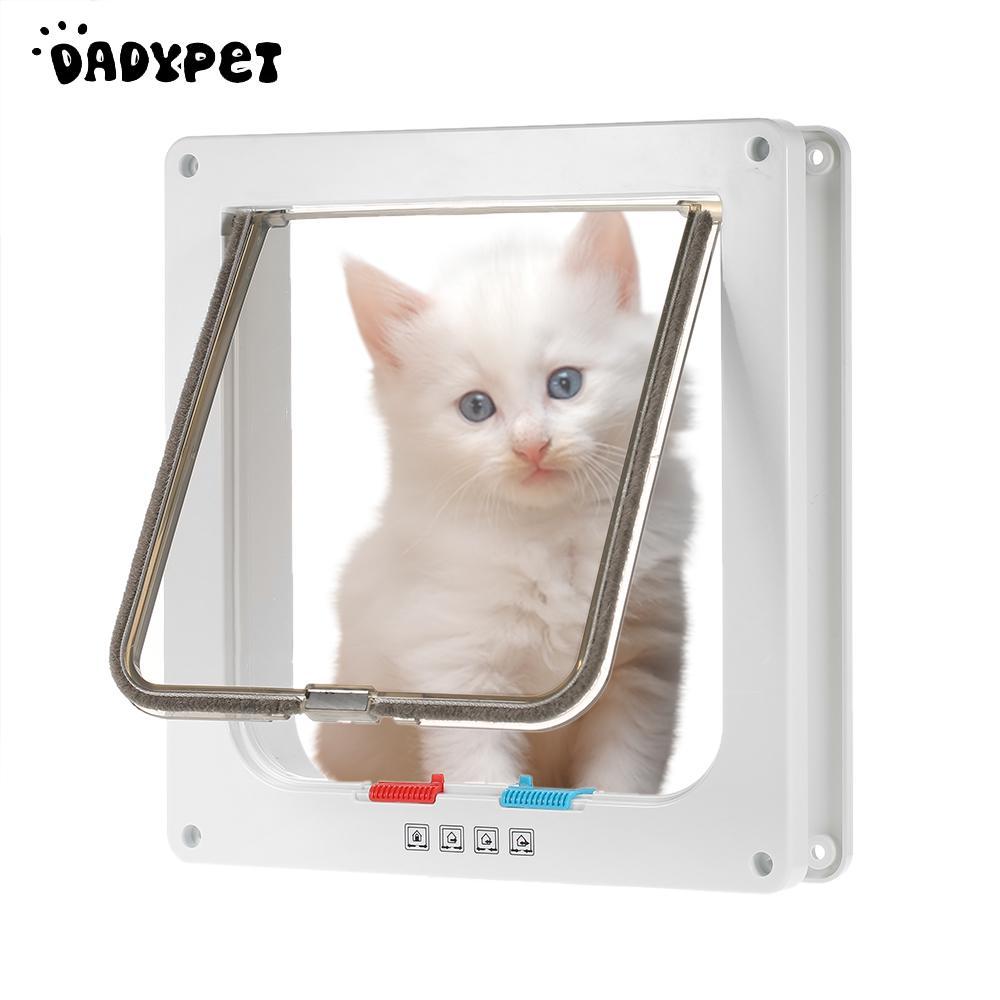 Controllable Access Openings 4-way Locking Indoor/outdoor Pet Door Kit Dog Door Flap Wall Mount Pet Door For Pets Safe White