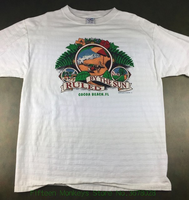 Print T Shirt O Neck Short Vintage Mens Xl 1996 Cocoa Beach Florida Ruled By