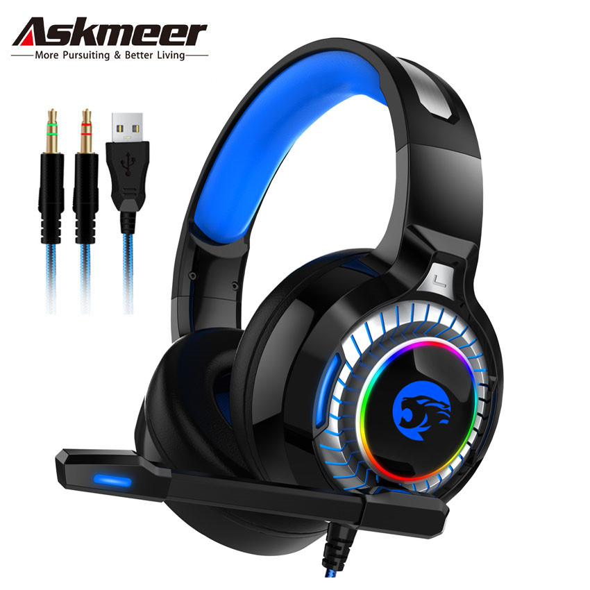 ASKMEER A60 PS4 Gaming Headset casque Best PC Stereo Game Earphone Headphones with Mic RGB LED Light for Xbox One Computer Gamer
