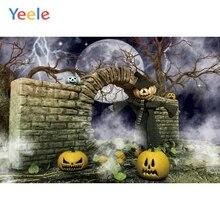 Yeele Halloween Party Pumpkin Brick Wall Photography Night Moon Fog Backgrounds Children Photographic Backdrop for Photo Studio