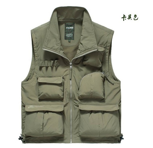 AFS JEEP Army Green/Khaki Tooling Vest Men New Designer Waistcoats Fleece Sleeveless Jackets Pockets Vests For Men