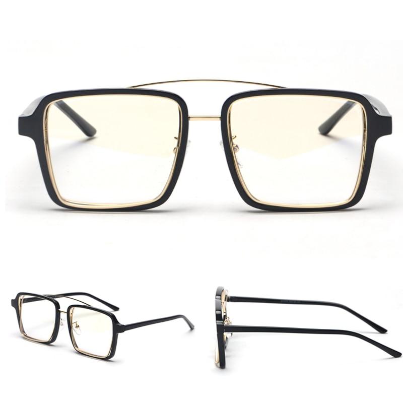 3b175a4a4e Peekaboo Black Square Frame Glasses For Men Vintage 2019 Clear Lens ...