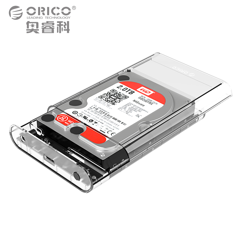 ORICO 3 5 Inch Transparent HDD Enclosure Case USB 3 0 5Gbps SATA3 0 Support UASP