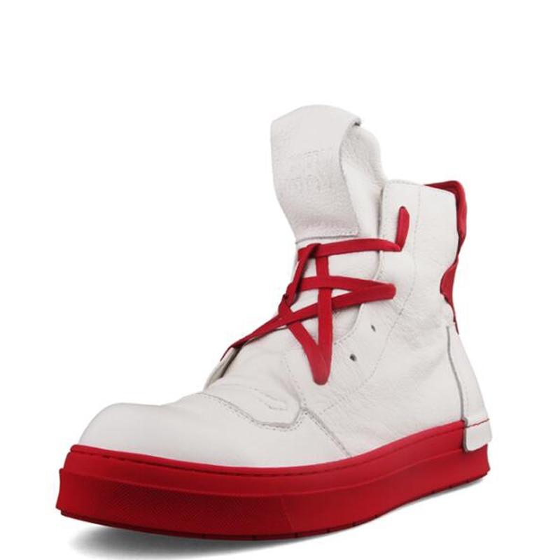 Blanco Botas Alta Zapatillas Superior Seak Owen Con Casuales Lujo azul Hombres Negro Cordones Plana Cuero De Genuino Negro blanco Botines Zapatos 7cqX4xTxBw