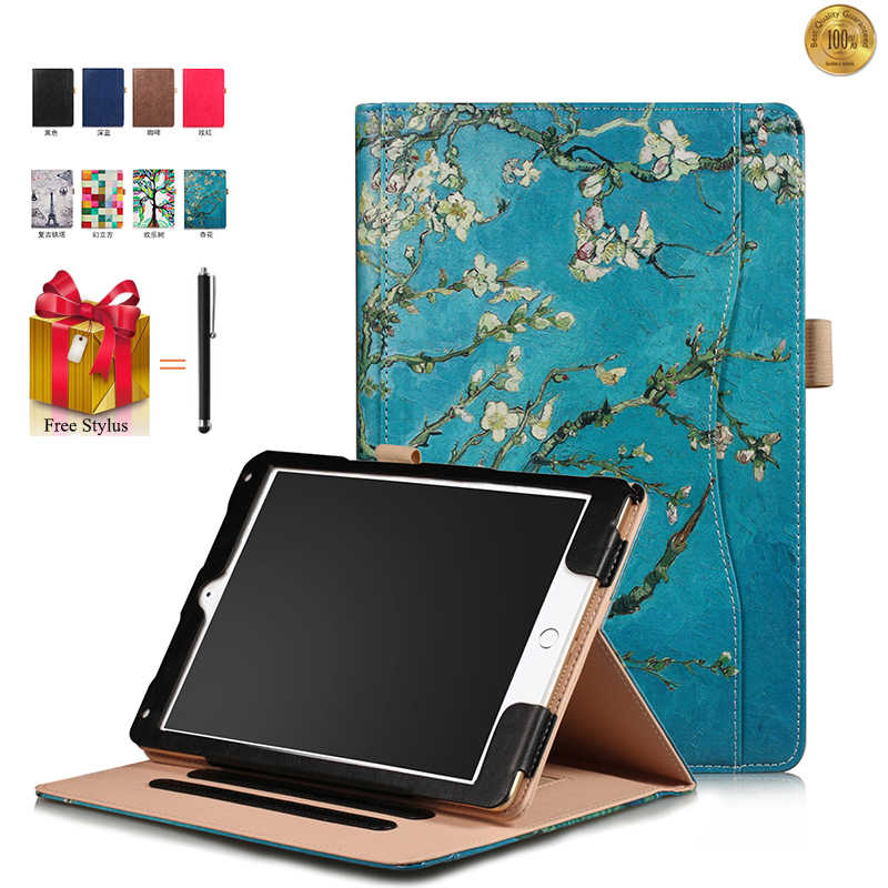 Case For iPad 9.7 2018 Hand Holder Universal Tablet Case For iPad 2018 Frame Flip Leather Card Slot Stand Cover +Stylus