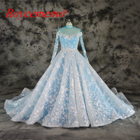 hot sale special lace design Muslim design Wedding Dress blue and ivory color Bridal gown long sleeves wedding gown ball gown