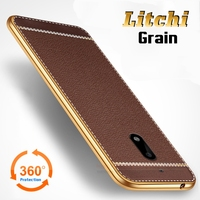 Luxury Litchi Lines Painting Case For Nokia 6 5 5 Slim Plating TPU Soft Business Style