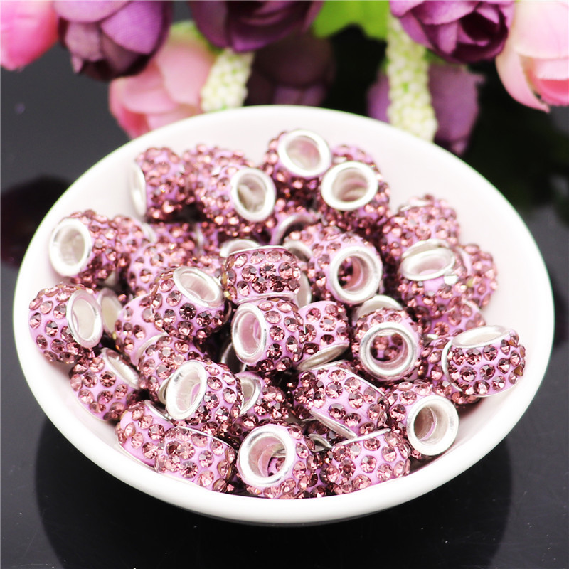 40Pcs Large Hole Pave CZ Rhinestone Beads Murano Glass Beads Fit For Pandora Charms Bracelet Chain Necklace For Jewelry Making in Beads from Jewelry Accessories