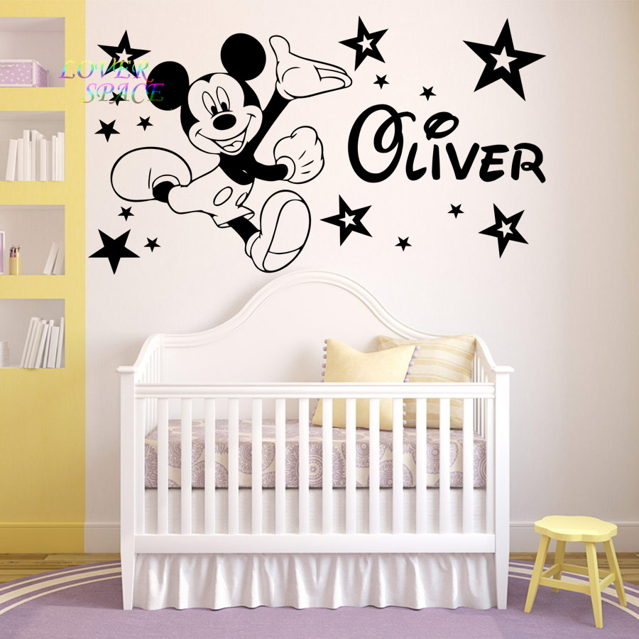 Mickey Mouse Etiqueta de La Pared Decal Nombre Personalizado Mickey Mouse Vinilo Etiqueta de La Pared Decoraci/ón para Nursery Room Kids Babys Decoraci/ón de la habitaci/ón