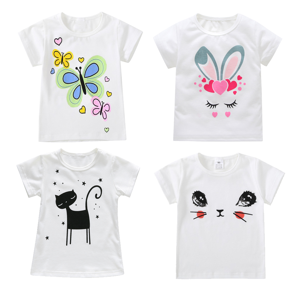2018 Cotton Kids T-Shirt Children Summer Short Sleeve T-Shirts for Boys Girls Clothes Cat Rabit Baby Boy T Shirt Toddler Tops