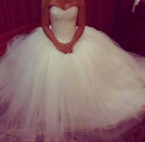 Glitter Wedding Gowns: Bling Wedding Dresses Princess Glitter Sweetheart Puffy