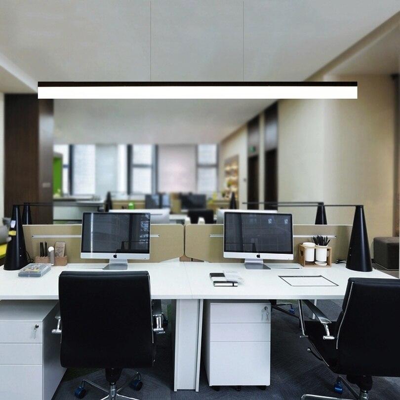 Nordique moderne pendentif lumières LED minimaliste salon longue bande Restaurant bureau Hanglamp créatif salle à manger suspension lampe - 3