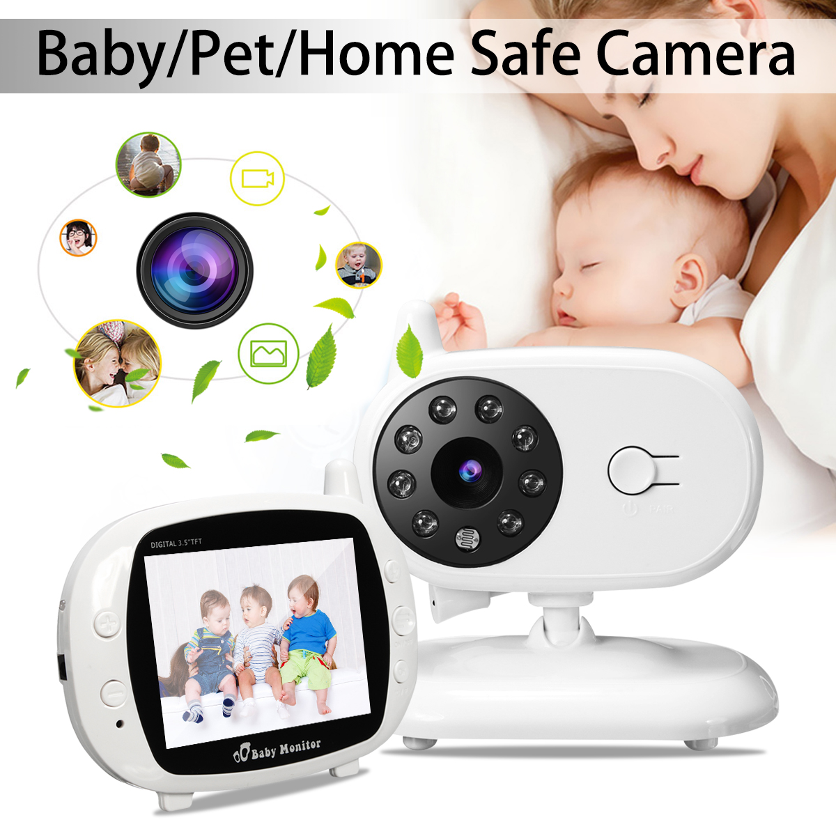Safurance 2.4G Wireless Digital 3.5 LCD Baby Monitor Camera Audio Talk Video Night Vision High Resolution Home Security