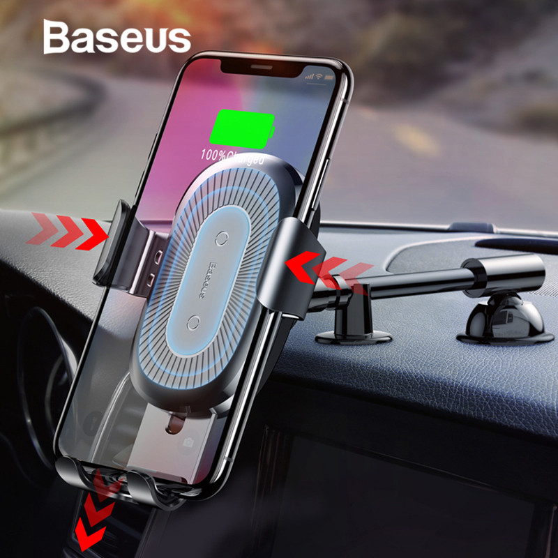 Baseus 10W Qi Wireless Car Charger for iPhone X 8 8Plus Gravity Car Mount Stand Car Phone Holder Fast Charger for Samsung S9 S8Baseus 10W Qi Wireless Car Charger for iPhone X 8 8Plus Gravity Car Mount Stand Car Phone Holder Fast Charger for Samsung S9 S8