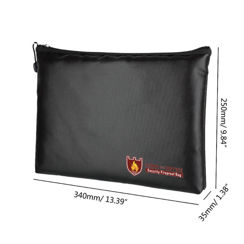 Fireproof Fire Resistant Document Bag Envelope Pouch Storage Safe With Zipper For Passport Money Files 3 Size Black BagsFireproof Fire Resistant Document Bag Envelope Pouch Storage Safe With Zipper For Passport Money Files 3 Size Black Bags