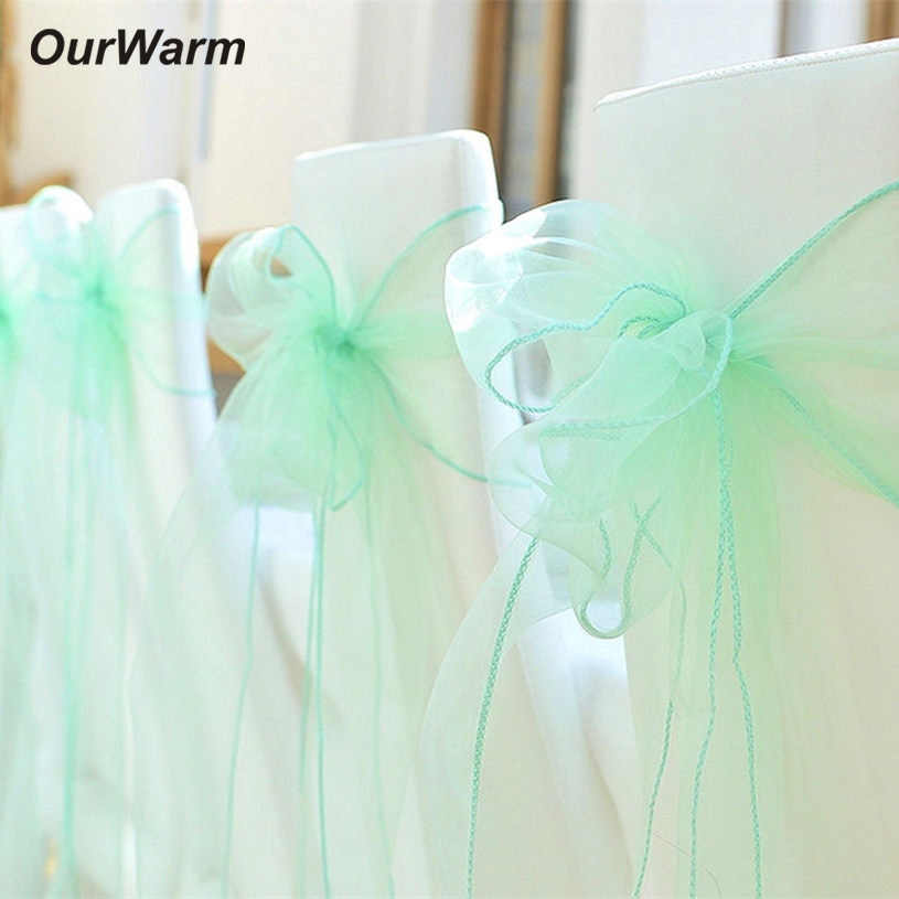 OurWarm свадебное украшение для стульев 18 см X 275 см органзы Председатель Пояса Лук Свадебный банкет события вечерние Поставки 13 Цветов варианты