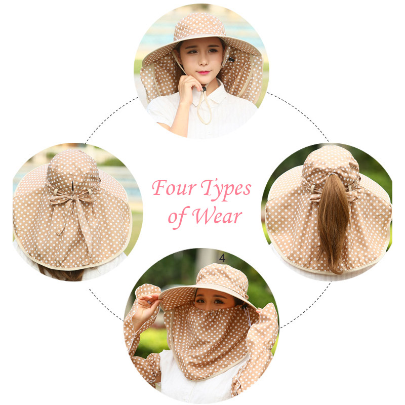 a7aca39e Fashion Summer Women Hat With Sleeves Dot Decorate Foldable Caps Ladies  Beach Sunscreen Casual Hats Gardener Work Cap H9-in Sun Hats from Apparel  ...