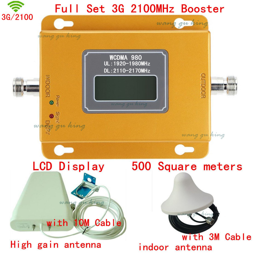 Full Set Top Quality LCD Display 3G 2100MHZ Mobile Signal Booster 3G,Phone Signal Repeater ,3G Signal Amplifier,coverage 500m2