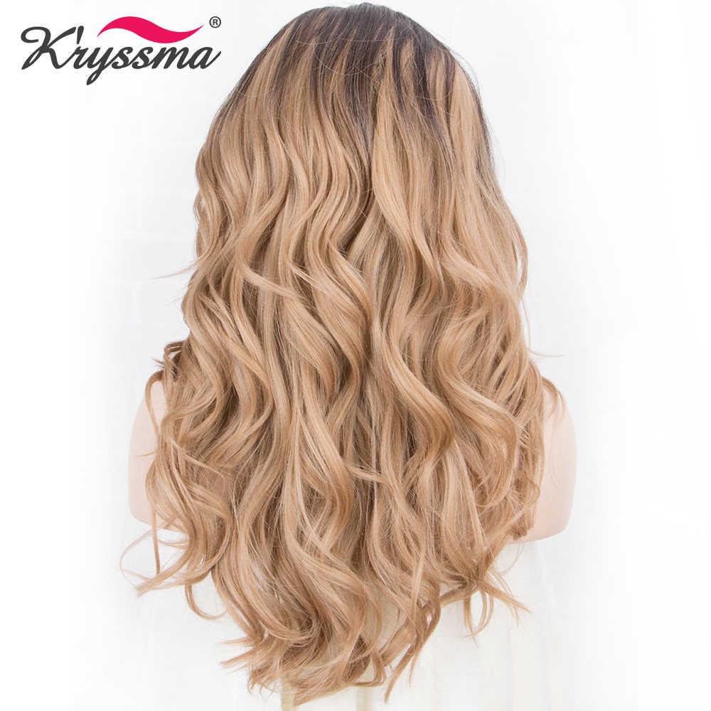 Lange Blonde Synthetische Perücken für Frauen Dark Wurzeln zu Blonde Ombre Perücke 130% Dichte Wellenförmige Weiche Faser 18 Zoll Rechts teil Glueless