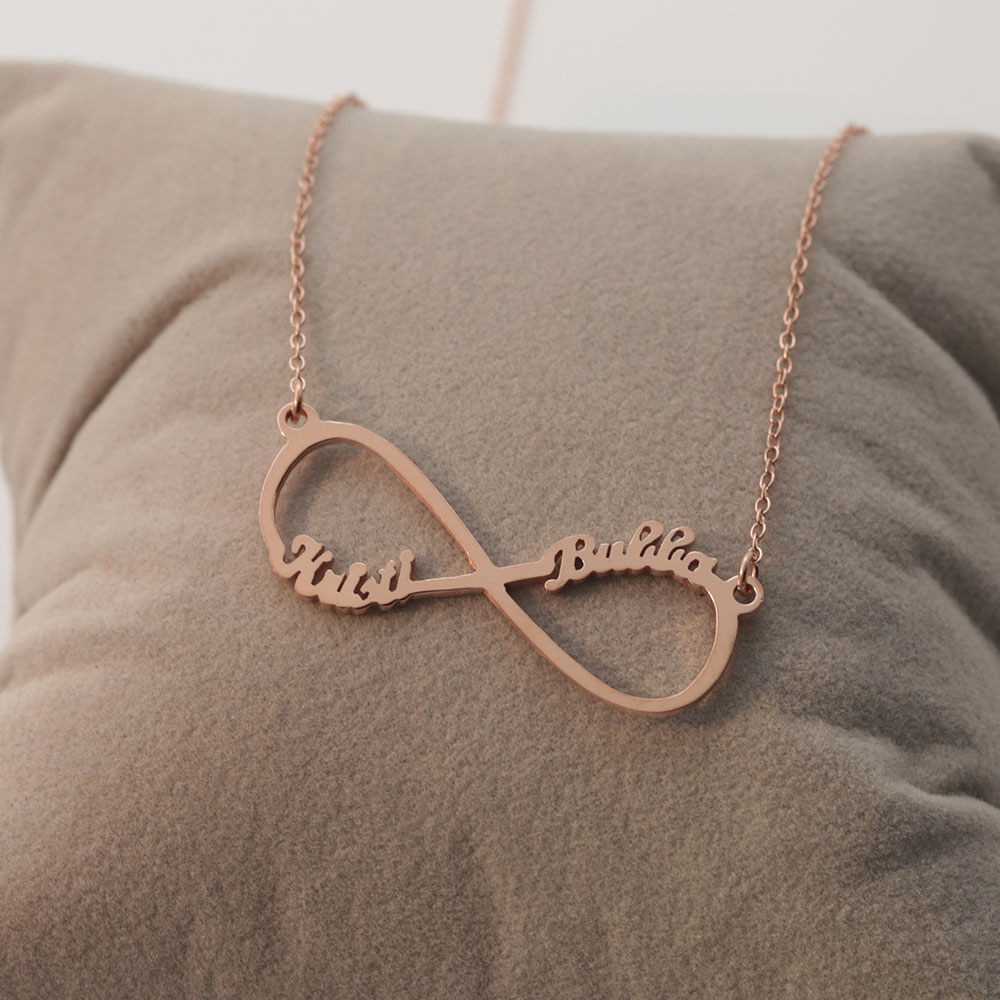 Fashion Jewelry Personalised Infinity Engraved Name Necklace Plated Gold Rose Silver Jewellery