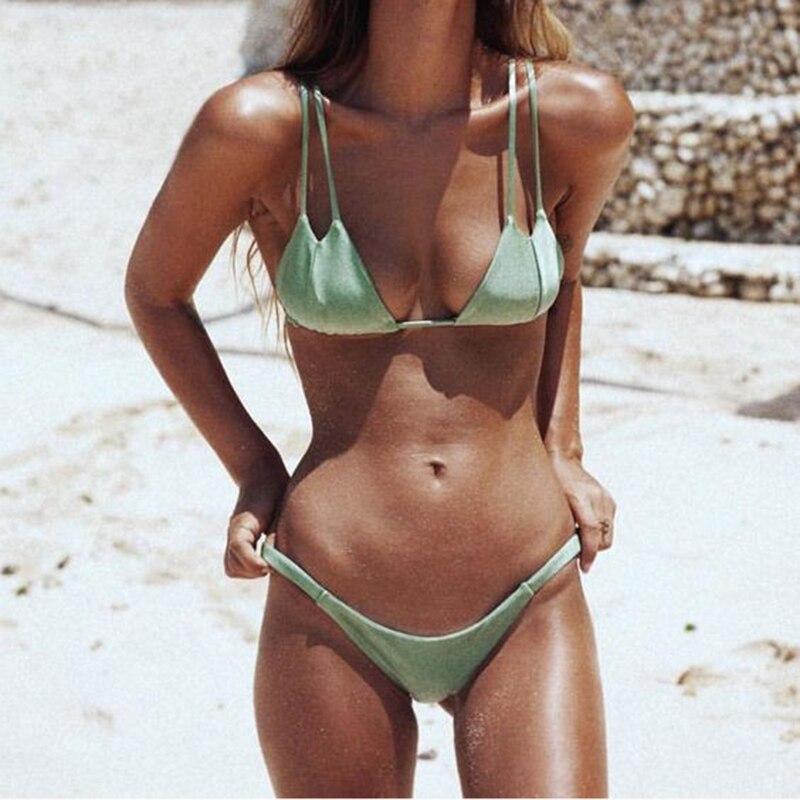 2017 Sexy Plavky Bikini Set Ženy Halter Solid Top koupací šortky - Sportovní oblečení a doplňky