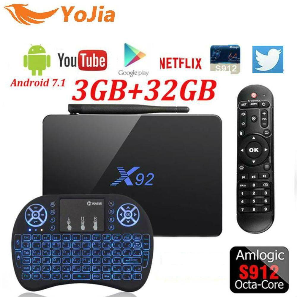Yojia X92 Amlogic S912 Android 7.1 TV Box 2 gb/3 gb 16 gb/32 gb Octa Core KD Player Completamente Caricato 5g Wifi X92 Smart Set Top Box