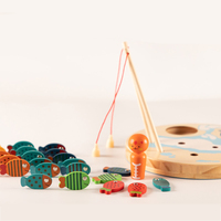 Kids Wood Magnetic 26pcs Letters Fishing Montessori Materials Educational Wooden Toys For Children Magnets Alphabet Fish Toy