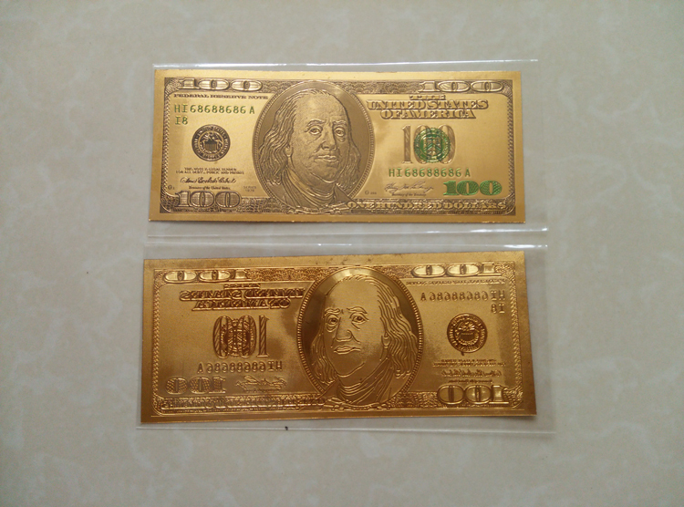 Gold Banknotes United States Single 100 Dollar Bill 99.9 Gold Foil Banknote Collection Paper Money Souvenir Vintage Home Decor