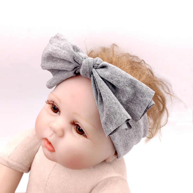 Мягкий, для новорожденного ребенка, для мальчиков и девочек повязки на голову с бантом Повседневное милые хлопковые эластичные Женская повязка для головы аксессуары для волос ручной работы Головные уборы