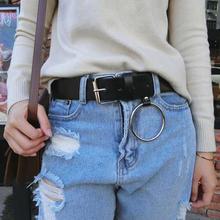 Горячие Золотые круглые пряжки ремни женский досуг джинсы дикий ремень без булавка металлическая пряжка коричневый кожаный черный ремень женский